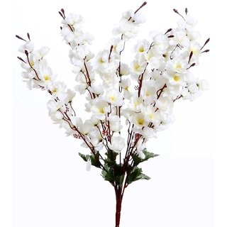6th Dimensions Artificial Peach Blossom Flower Bunch (9 Stems, White, 45cm)