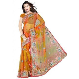 Triveni Multicolor Net Plain Saree With Blouse