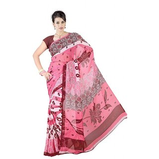 Triveni Pink Georgette Printed Saree With Blouse