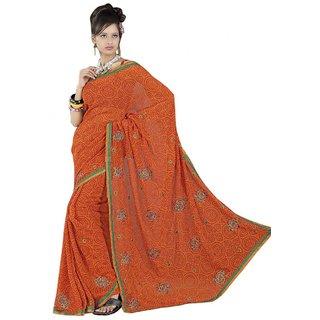 Triveni Orange Georgette Plain Saree With Blouse