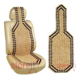 Autofurnish Car Wooden Bead Seat Acupressure Design Universal Size