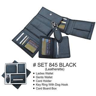 Gift Set  Ladies Wallet Gents Wallet Card Holder Key Ring with Dog Hook  Card Board Box