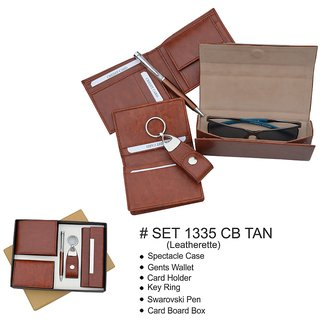 Gift Set  Spectacle Case Gents Wallet Card Holder Key Ring  Pen Card Board Box
