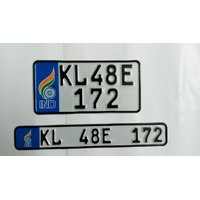 bike number plate with blue ind flag