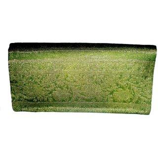 Indha Craft Zari Border Clutch (Green)