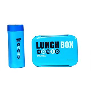 6thdimensions Stylish Lunch Box and Bottle Set With Two Compartment and Spoon Made of Food Grade Plastic For Kids- Blue
