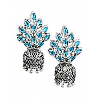 Zaveri Pearls Silver Plated Silver & Turquoise Alloy Jhumkis for Women