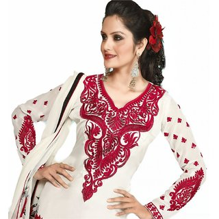 Triveni White Party Wear Embroidered Salwar Kameez Tshtxdysk1206B (Unstitched)
