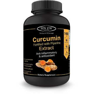 Sinew Nutrition Extra Bioavailable Organic Turmeric Curcumin Extract with Piperine-700mg 90 Veg Capsules (1400 mg/serve)