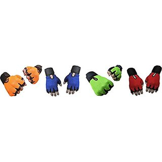 CP Bigbasket Pack of Four (4) Netted with Wrist Support Gym  Fitness Gloves (Free Size) Orange-Blue-green-red