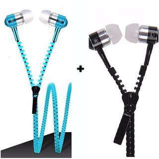 Other Set of 2 Tangle Free Zipper Earphone With Mic