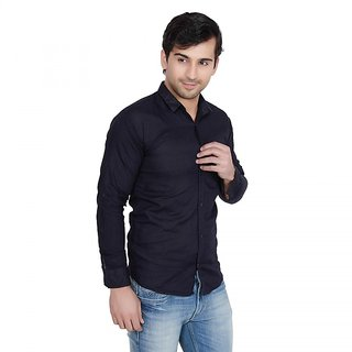 Creative Trends Plain Navy Casual Slimfit Poly-Cotton Shirt