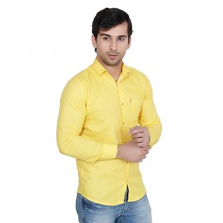 Creative Trends Plain Yellow Casual Slimfit Poly-Cotton Shirt