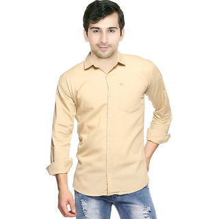 Creative Trends Plain Cream Casual Slimfit Poly-Cotton Shirt