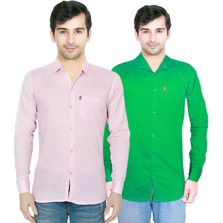 Creative Trends Plain Pink & Green Casual Slimfit Poly-Cotton Shirt Pack of 2