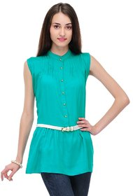 Sukuma Turquoise Plain Long Top With Belt For Women