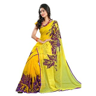 Triveni Multicolor Chiffon Printed Saree With Blouse