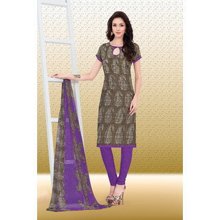 d424b0a2d6 Sareemall Brown Fancy Silk Printed Dress Material with Matching Dupatta  (Unstitched)