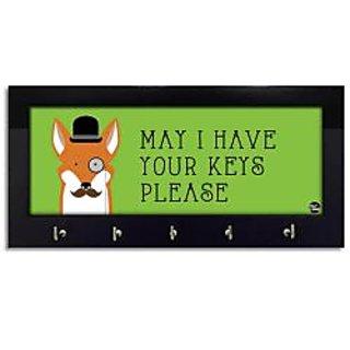 Nutcase Wooden Key Holder Hanger for Wall - Designer Key Chain Hanging Board Box - 5 Hooks Wall Mounted Key Rack - Screws Included