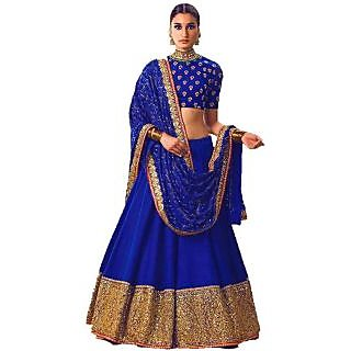 210a4bac20 MakeMyFashion Blue colour Banglori silk Plain with heavy border lace work  designer semi stitched lehenga choli