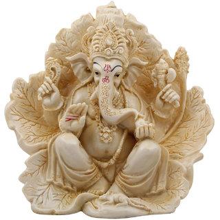 Ganesh on Lotus Leaf Statue (Polymarble)