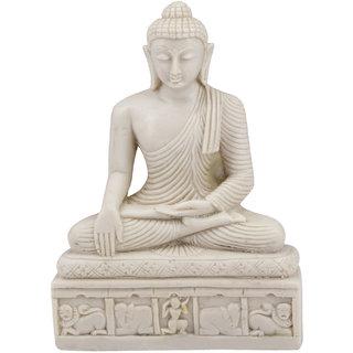 White Buddha Bhumisparsha Mudra (Polymarble)