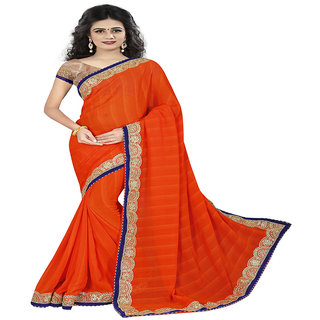 Kayaa Fashion Georgette Orange Party Wear Plain Saree