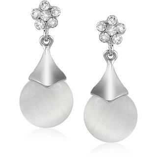 VK Jewels Diamond Heart Drop Pearl Rhodium Plated Alloy Drop Earring Set For Women & Girls- ERZ1567R [VKERZ1567R]