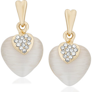 VK Jewels Heart Shaped Pearl Gold Plated Alloy Drop Earring Set For Women & Girls- ERZ1713G [VKERZ1713G]