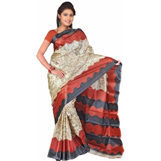 florence clothing company Multicolor Art Silk Printed Saree Without Blouse