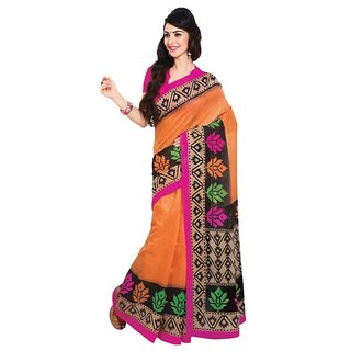Triveni Orange Georgette Printed Saree With Blouse