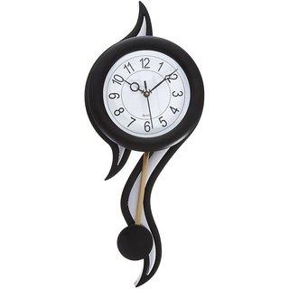 Decorative Retro Plastic and Glass Pendulum Wall Clock (12.5 cm x 2.5 cm x 45 cm, Black and White)
