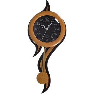 Decorative Retro Plastic and Glass Pendulum Wall Clock (12.5 cm x 2.5 cm x 45 cm, Black and White)  - Brown