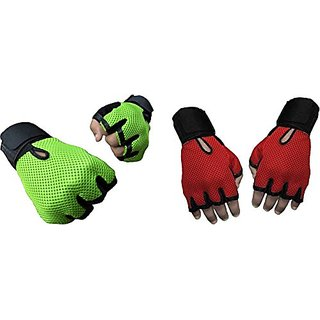 CP Bigbasket Pack of two (2) Netted with Wrist Support Gym  Fitness Gloves (Free Size) Green-red