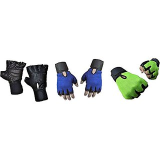 CP Bigbasket Pack of three (3) Netted with Wrist Support Gym  Fitness Gloves (Free Size) Black-blue-Green