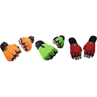 CP Bigbasket Pack of three (3) Netted with Wrist Support Gym  Fitness Gloves (Free Size) orange-green-red