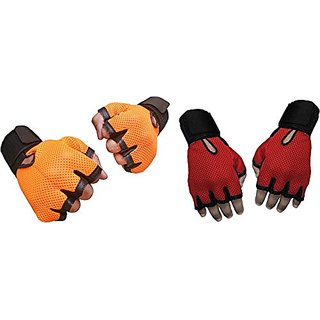 CP Bigbasket Pack of two (2) Netted with Wrist Support Gym  Fitness Gloves (Free Size) Orange-red
