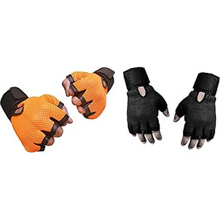 CP Bigbasket Pack of two (2) Netted with Wrist Support Gym  Fitness Gloves (Free Size) Orange-black