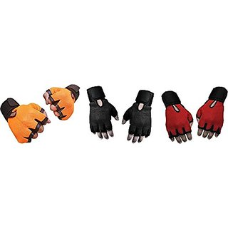 CP Bigbasket Pack of three (3) Netted with Wrist Support Gym  Fitness Gloves (Free Size) orange-black-red