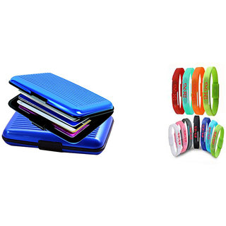 Blue Aluma Wallet Designer Card Holder With LED Waterproof Jelly Watch