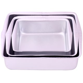 NOOR ALUMINIUM SQUARE SHAPE CAKE MOULDS - SET - 3