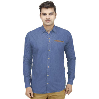 Stylox Men's Blue Slim Fit Casual Shirt