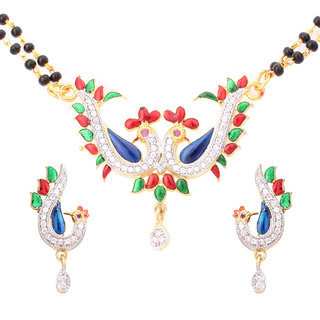 Fashion Frill New Shahi Lovers Peacock Mangalsutra With Matching Earring (FF152)