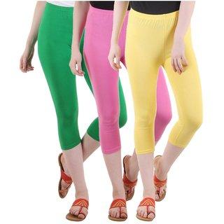 Diaz Multicolor Cotton Lycra Capris - Pack Of 3