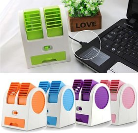 Mini Small Dual Bladeless Portable Adjustable Angles Scented Air USB Cooler -MultiColours