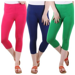 Diaz Multi Color Cotton Lycra Capris - Pack Of 3