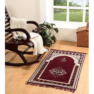 Valtellina velvet maroon janamaz / prayer mat ( 46''x 27'' ) JNMZ-02