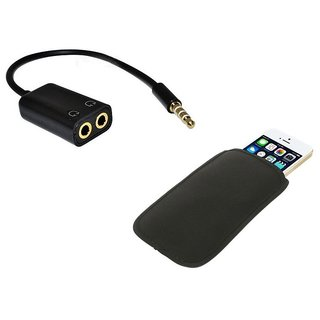 De TechInn Combo of Audio Y Splitter Adapter Cable 3.5mm With Pouch for obile Phones Neoprene Soft Cloth Sleeve  (Black)
