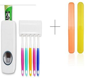 Buy Automatic Toothpaste Dispenser With 2 Pcs Toothbrush Case Holder Cover Box Tube - TBOX2TDIS