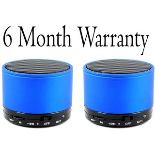 CP Bigbasket Pack of two (2) Mini Soundtube Bluetooth Speaker Aux SD card -Blue (6 Month Manufacturer warranty).